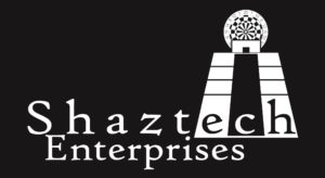 Shaztech logo in black and white